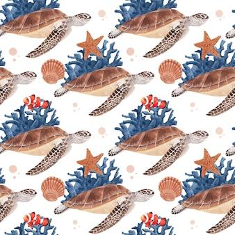 海の生物のコンセプトデザイン水彩イラストとパターン