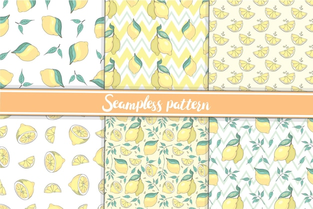 흰색 배경에 벡터 삽화가 없거나 잎이 있는 전체 및 다진 레몬의 원활한 패턴 컬렉션이 있는 패턴입니다.