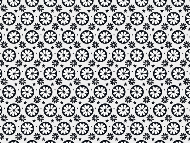 Pattern with simplified flower silhouettes