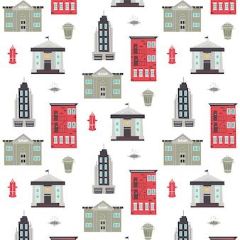 Образец с небоскребом, жилым домом, пожарным гидрантом, люком. детская цифровая бумага, вектор рисованной иллюстрации