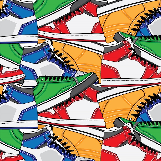 Pattern with sneaker shoes