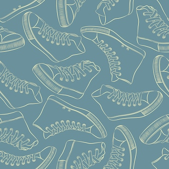 Pattern with sneakers