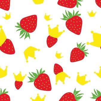 イチゴと王冠のパターン