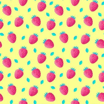 Pattern with strawberries and leaves
