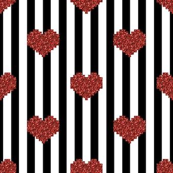 줄무늬와 반짝이 하트 패턴