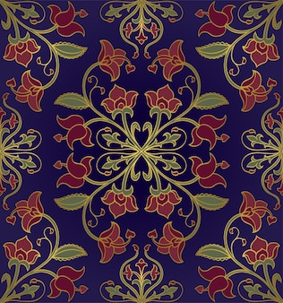 Pattern with stylized flowers. blue floral ornament.