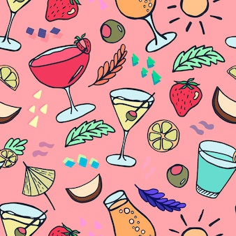 A pattern with summer cocktails and fruit drinks in doodle style on a pink background
