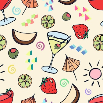 A pattern with summer cocktails and fruit drinks in doodle style on a yellow background