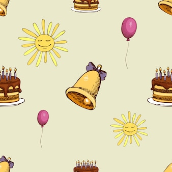 Pattern with sun, bell and cake. hipster decoration seamless background.