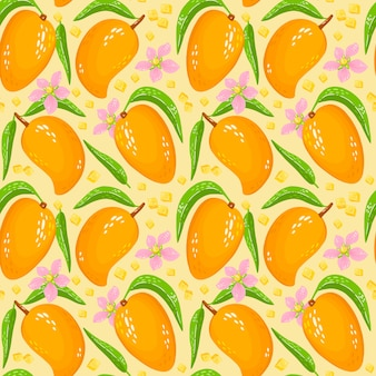 Pattern with sweet yellow mango with leaves, pieces of mango and flowers. organic healthy fruits background. cartoon illustration. perfect for wrap paper, wallpaper, background, fabric print.