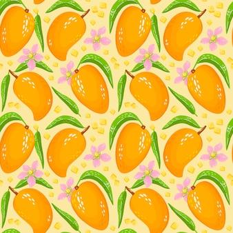 葉、マンゴー、花の部分と甘い黄色のマンゴーのパターン。有機健康的な果物の背景。漫画イラスト。包装紙、壁紙、背景、布プリントに最適です。