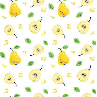 Pattern with sweet yellow pears with leaves