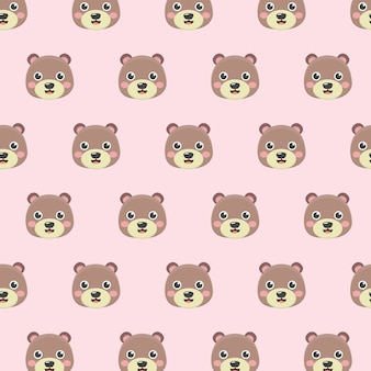 Pattern with teddy bears on pastel background.