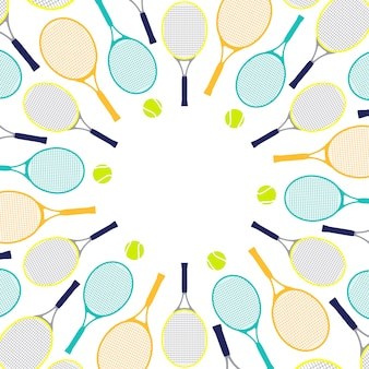 Pattern with tennis rackets and balls