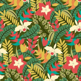 열대 꽃과 잎 패턴