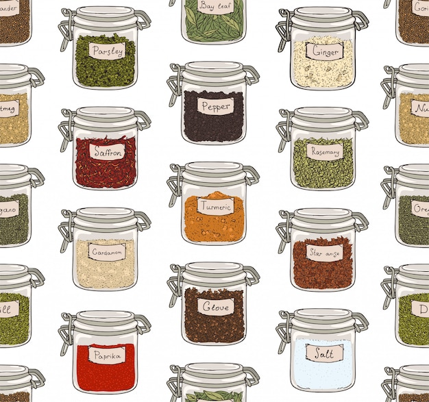 Pattern with various ground spices or piquant condiments stored in glass jars on white background.