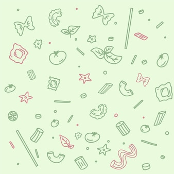 Pattern with various pasta types