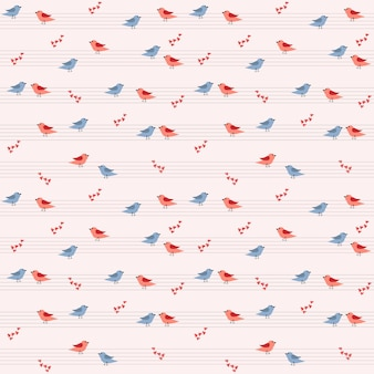 Pattern with a vector illustration of different pairs of birds sitting on a stave, there are many hearts around.