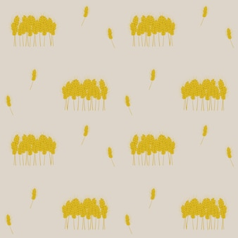 Pattern with vector image of yellow ears one by one and in a heap