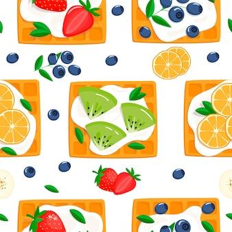 Узор с венскими вафлями, сметаной и ягодами. векторные иллюстрации в мультяшном стиле на белом фоне