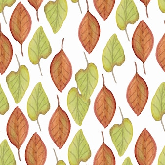 Pattern with watercolor autumn leaf