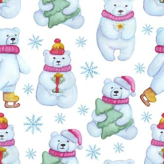 흰색 곰 패턴 크리스마스 겨울 원활한 패턴