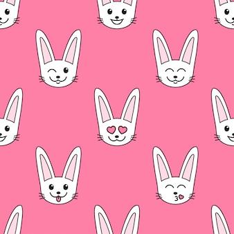 Узор с белыми кроликами с разными эмоциями