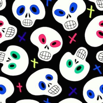 검은 배경 벡터 일러스트 레이 션에 흰색 두개골과 여러 가지 빛깔된 십자가 패턴