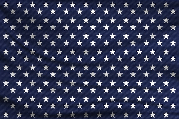 Pattern with white stars on the blue fabric. american flag concept.