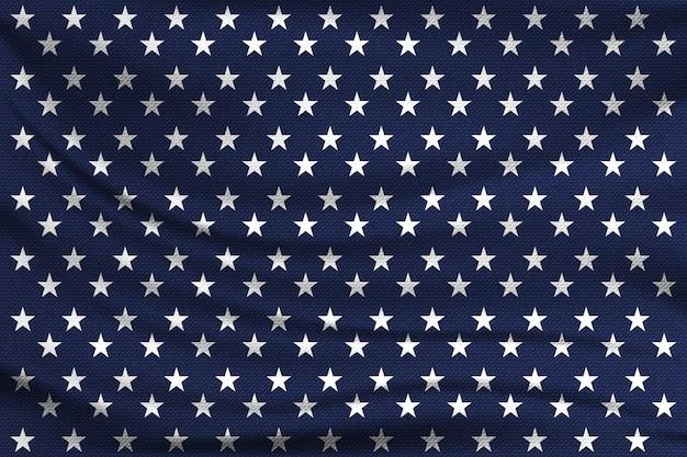Узор с белыми звездами на синей ткани. концепция американского флага.