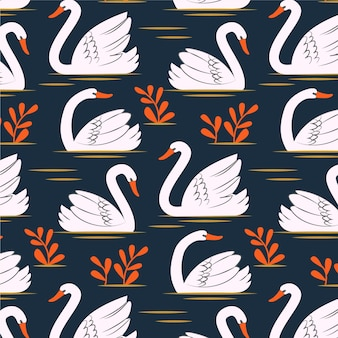 Узор с белым лебедем и оранжевыми цветами