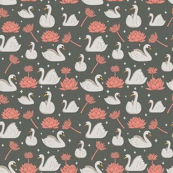 하얀 백조와 분홍색 꽃 패턴