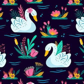 Pattern with white swan and colourful flowers