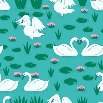 Pattern with white swan and lily pads