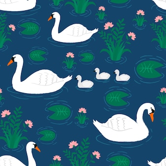 Pattern with white swan and little babies