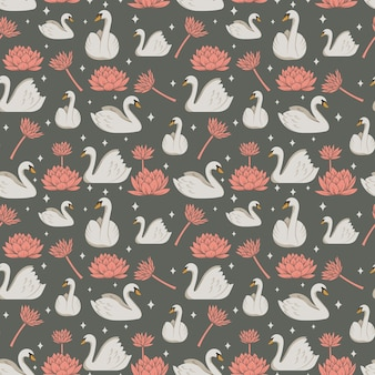 Pattern with white swan and pink flowers