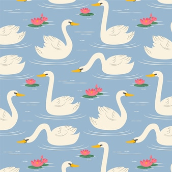 Pattern with white swan and water lily flowers