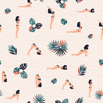 Pattern with woman doing yoga and tropical leaves. Premium Vector