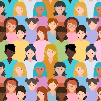 Pattern with women faces for event