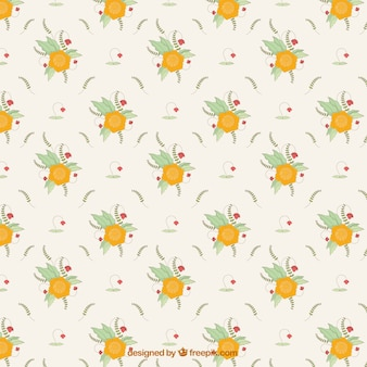 Pattern of yellow flowers and hand drawn leaves