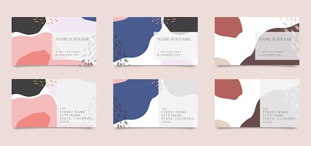 Узорчатая коллекция векторных визитных карточек