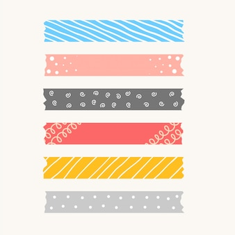 Patterned cute ribbons or torned paper tape set