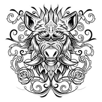 Patterned head of boar