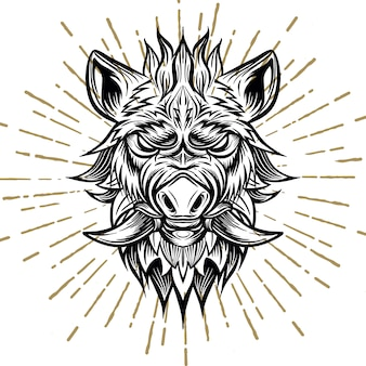 Patterned head of boar.
