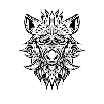 Patterned head of boar