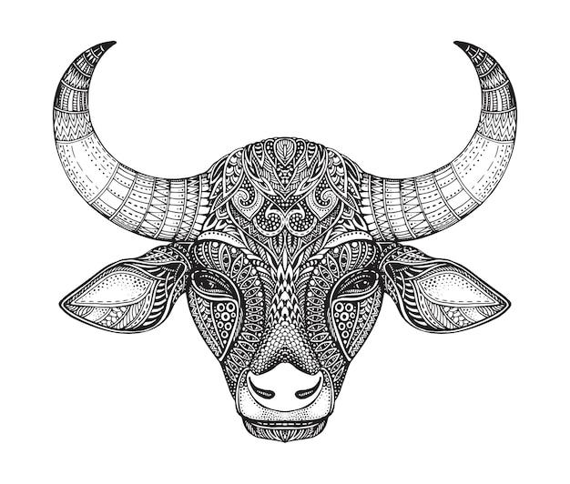 雄牛のパターン化された頭。華やかな落書きスタイルの手描きのベクトルイラスト。