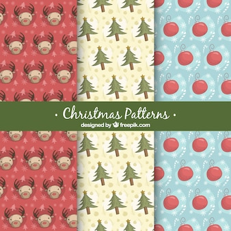 Patterns of christmas elements sketches