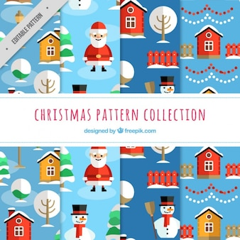 Patterns of christmas with santa claus and snowmen