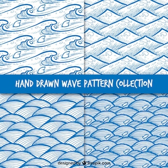 Patterns collection of hand-drawn waves