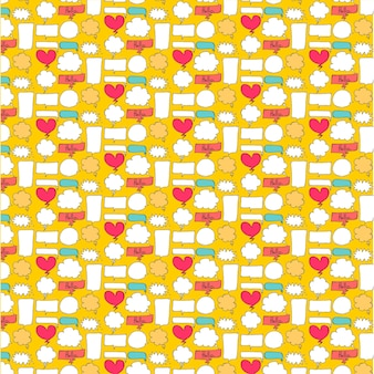 Patterns cute bubble with yellow background.
